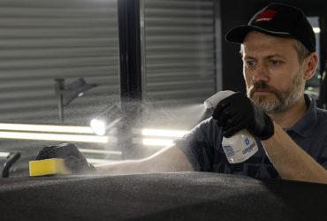 нанесение защиты на тканевую крышу авто